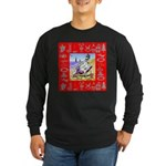 Snowman Vacationing At Beach Long Sleeve Dark T-Sh