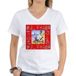 Snowman Vacationing At Beach Women's V-Neck T-Shir