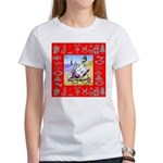 Snowman Vacationing At Beach Women's T-Shirt