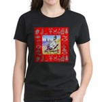 Snowman Vacationing At Beach Women's Dark T-Shirt