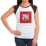 Snowman Vacationing At Beach Women's Cap Sleeve T-
