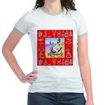 Snowman Vacationing At Beach Jr. Ringer T-Shirt