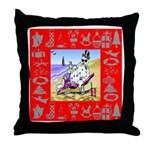 Snowman Vacationing At Beach Throw Pillow