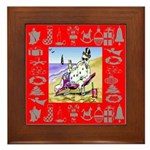 Snowman Vacationing At Beach Framed Tile