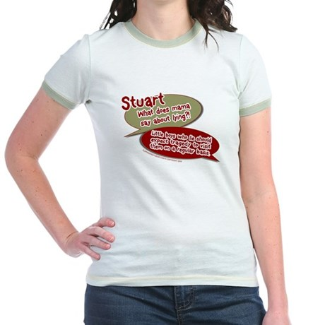 Stuart - What does mommy say. Jr Ringer T-Shirt