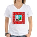 Polar Bear Decorating The Tre Women's V-Neck T-Shi