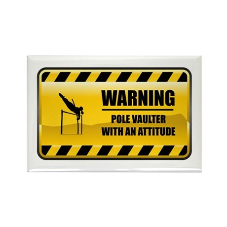 Warning Pole Vaulter Rectangle Magnet (100 pack)