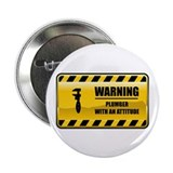 "Warning Plumber 2.25"" Button (10 pack)"