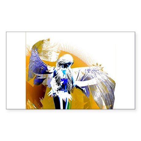 Golden Angel Art Rectangle Sticker
