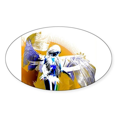 Golden Angel Art Oval Sticker