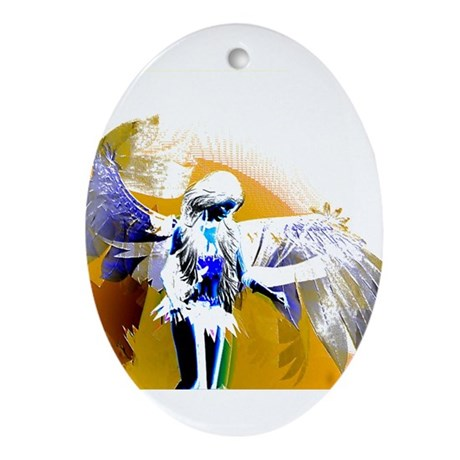 Golden Angel Art Oval Ornament