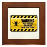 Warning Pest Control Specialist Framed Tile