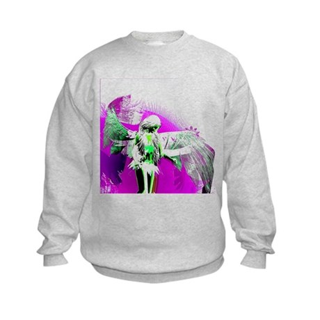 Purple Angel Art Kids Sweatshirt