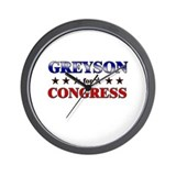 GREYSON for congress Wall Clock