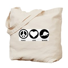 Peace Love Beaver Tote Bag