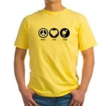 Peace Love Camel Yellow T-Shirt