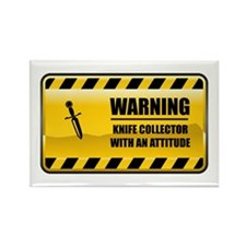 Warning Knife Collector Rectangle Magnet (100 pack
