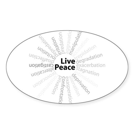 Live Peace Oval Sticker