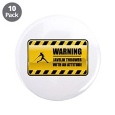 "Warning Javelin Thrower 3.5"" Button (10 pack)"