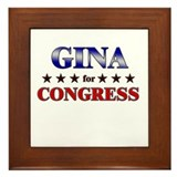 GINA for congress Framed Tile