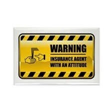 Warning Insurance Agent Rectangle Magnet