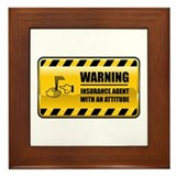 Warning Insurance Agent Framed Tile