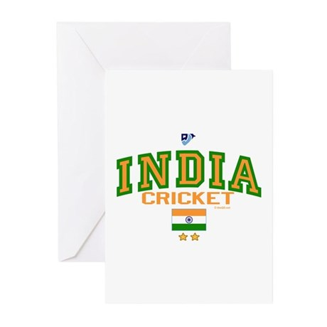 IN India Indian Cricket Greeting Cards (Pk of 10)