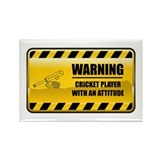 Warning Cricket Player Rectangle Magnet (100 pack)
