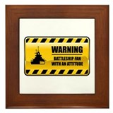 Warning Battleship Fan Framed Tile