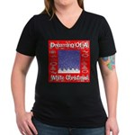 Dreaming Of A White Christmas Women's V-Neck Dark