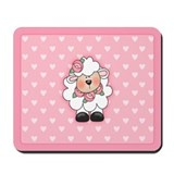 Lamb Hearts in Pink Mousepad