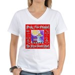 Pray For Peace The Whole Worl Women's V-Neck T-Shi