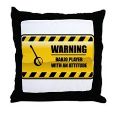 Warning Banjo Player Throw Pillow