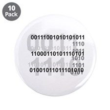 "Binary Code Design 3.5"" Button (10 pack)"