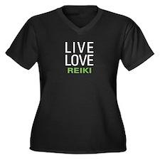 Live Love Reiki Women's Plus Size V-Neck Dark T-Sh