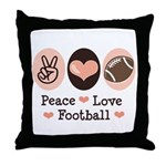 Pink Brown Peace Love Football Throw Pillow