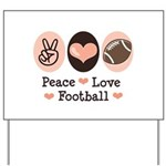 Pink Brown Peace Love Football Yard Sign