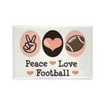 Pink Brown Peace Love Football Rectangle Magnet (1