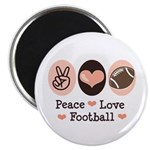 Pink Brown Peace Love Football Magnet