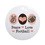 Pink Brown Peace Love Football Ornament (Round)
