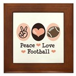 Pink Brown Peace Love Football Framed Tile