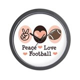 Pink Brown Peace Love Football Wall Clock