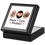 Pink Brown Peace Love Football Keepsake Box