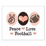 Pink Brown Peace Love Football Small Poster