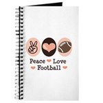 Pink Brown Peace Love Football Journal