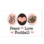 Pink Brown Peace Love Football Postcards (Package