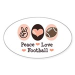 Pink Brown Peace Love Football Oval Sticker
