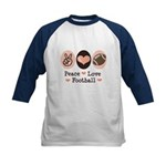 Pink Brown Peace Love Football Kids Baseball Jerse