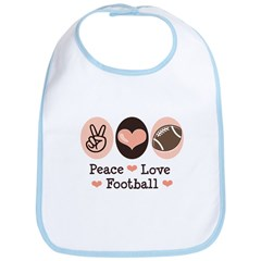 Pink Brown Peace Love Football Bib