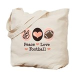 Pink Brown Peace Love Football Tote Bag